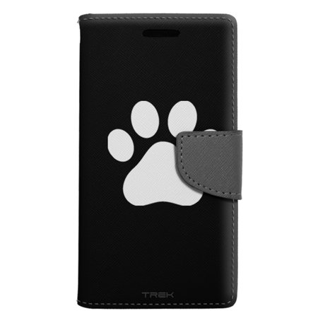 (ZTE Grand X 3 Wallet Case - Paw Print on Black Case)