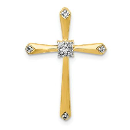 Roy Rose Jewelry 14K Yellow Gold Diamond Accent Cross Pendant 1/20-Carat
