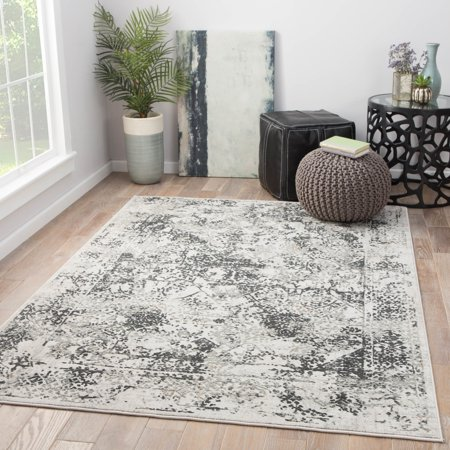 The Gray Barn Brookside White Grey Abstract Area Rug 10 X 14