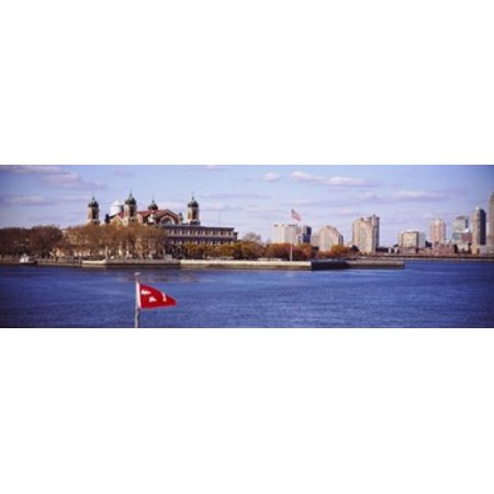 Museum and skyscrapers viewed through a ferry New Jersey Ellis Island New York City New York State USA Canvas Art - Panoramic Images (18 x 6)