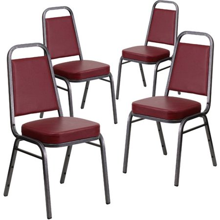 Flash Furniture 4pk HERCULES Series Trapezoidal Back Stacking Banquet Chair with Burgundy Vinyl and 2.5