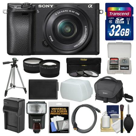Alpha Digital Digital Digital Camera (Sony Alpha A6300 4K Wi-Fi Digital Camera + 16-50mm Lens (Black) with 32GB Card + Case + Flash + Battery + Charger + Tripod + 3 Filters +)