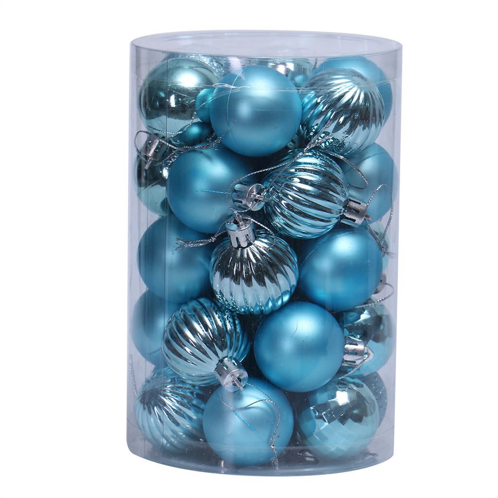 CF Collection Shatterproof Christmas Tree Ball Ornaments in Teal Blue Silver and Plum 60MM Set of 16