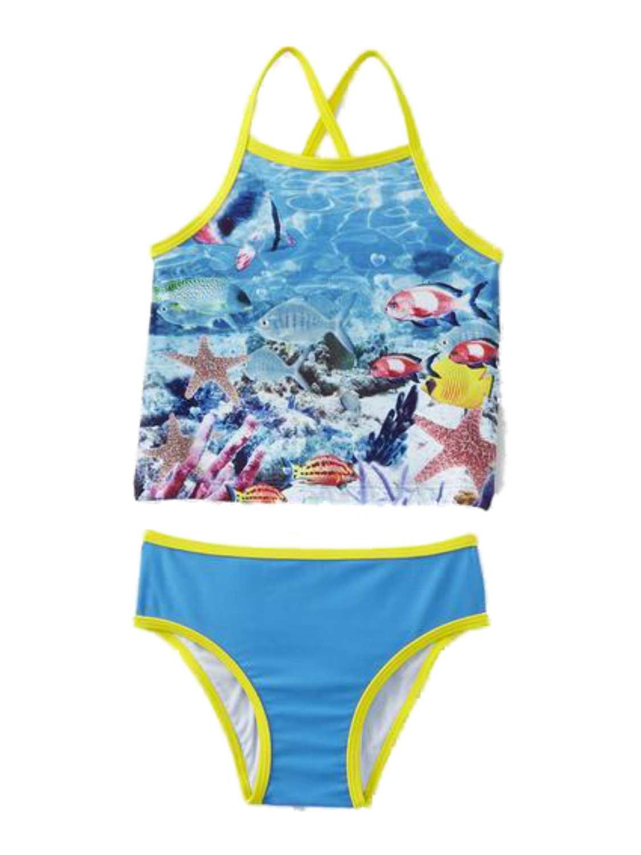 Joe Boxer Toddler Girl Blue Tropical Ocean Fish Swimming Suit Swim Tankini