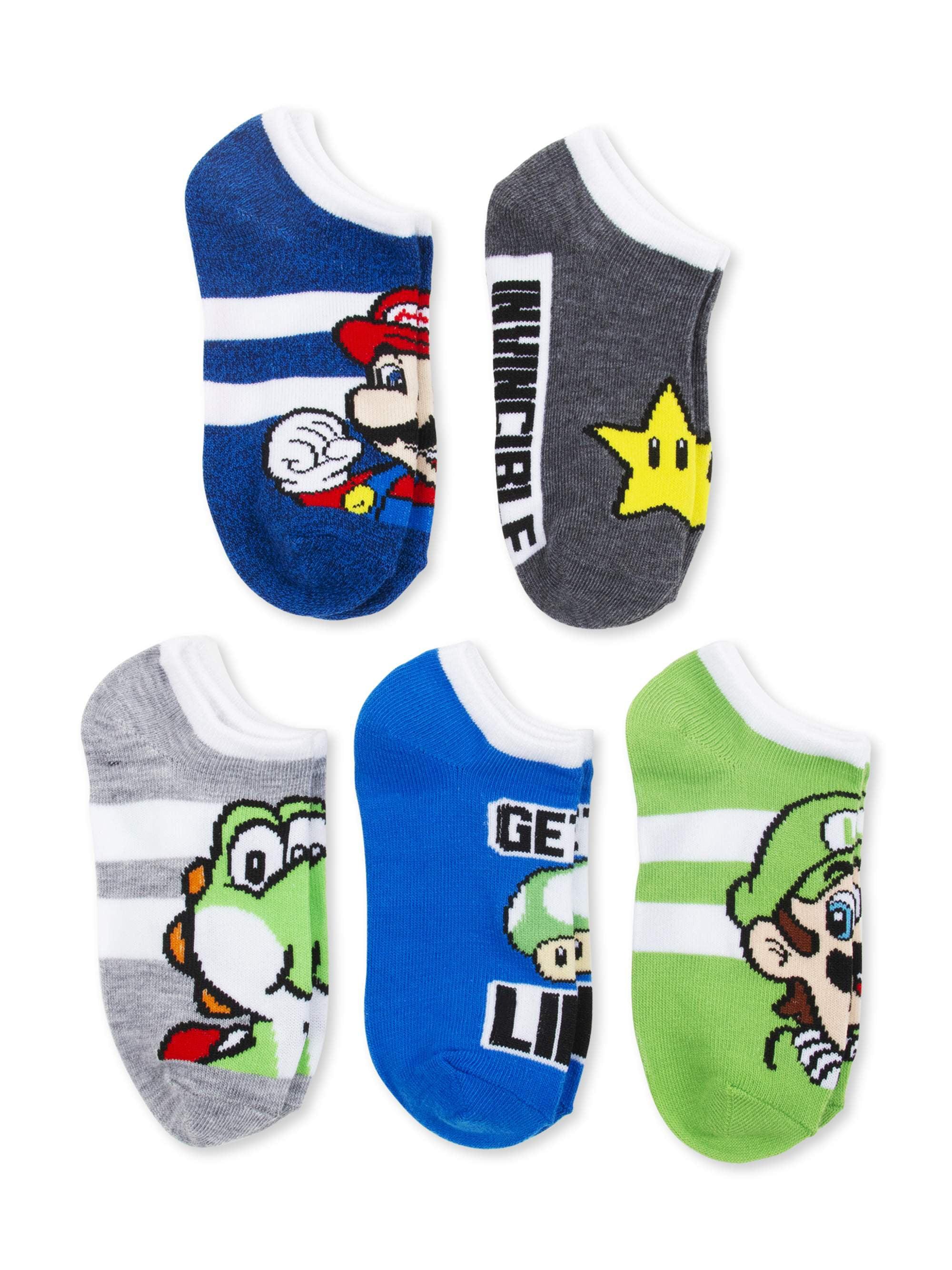 Super Mario Toddler Children's Black No-Show Socks Size 6-8 1//2 1-Pair