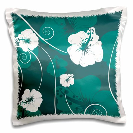 3dRose Lovely White Hibiscus Tropical Flowers on Teal and Turquoise Background, Pillow Case, 16 by 16-inch ()