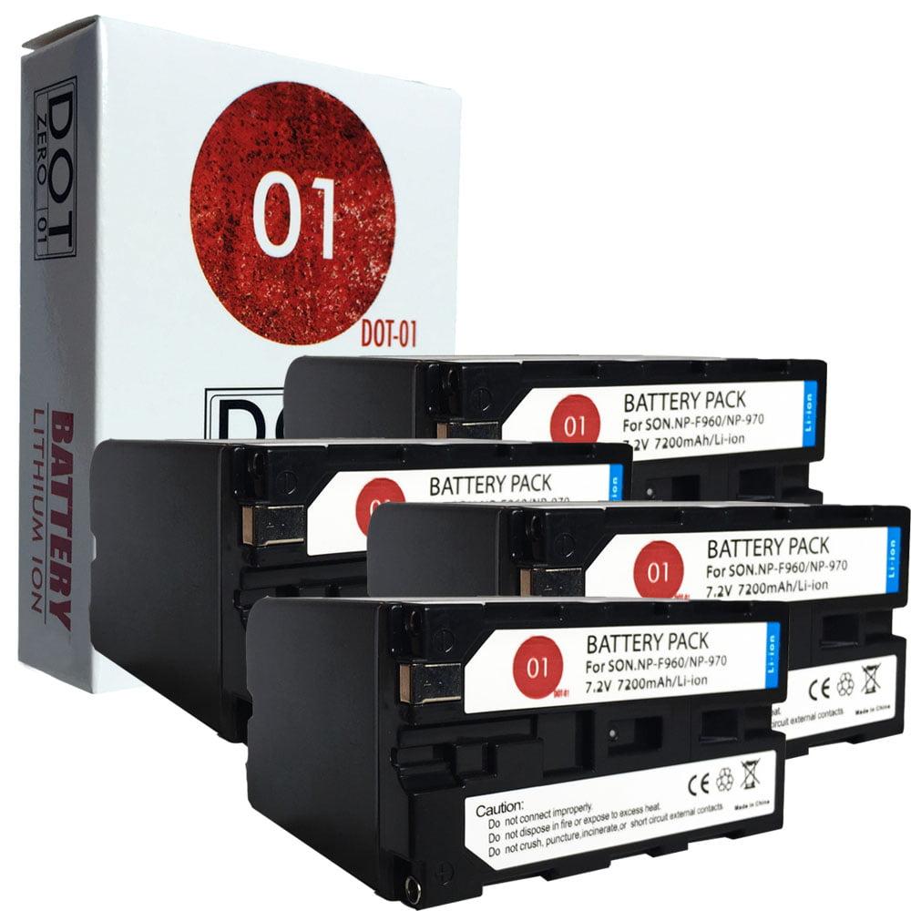 4x DOT-01 Brand 7200 mAh Replacement Sony NP-F960 Batteri...