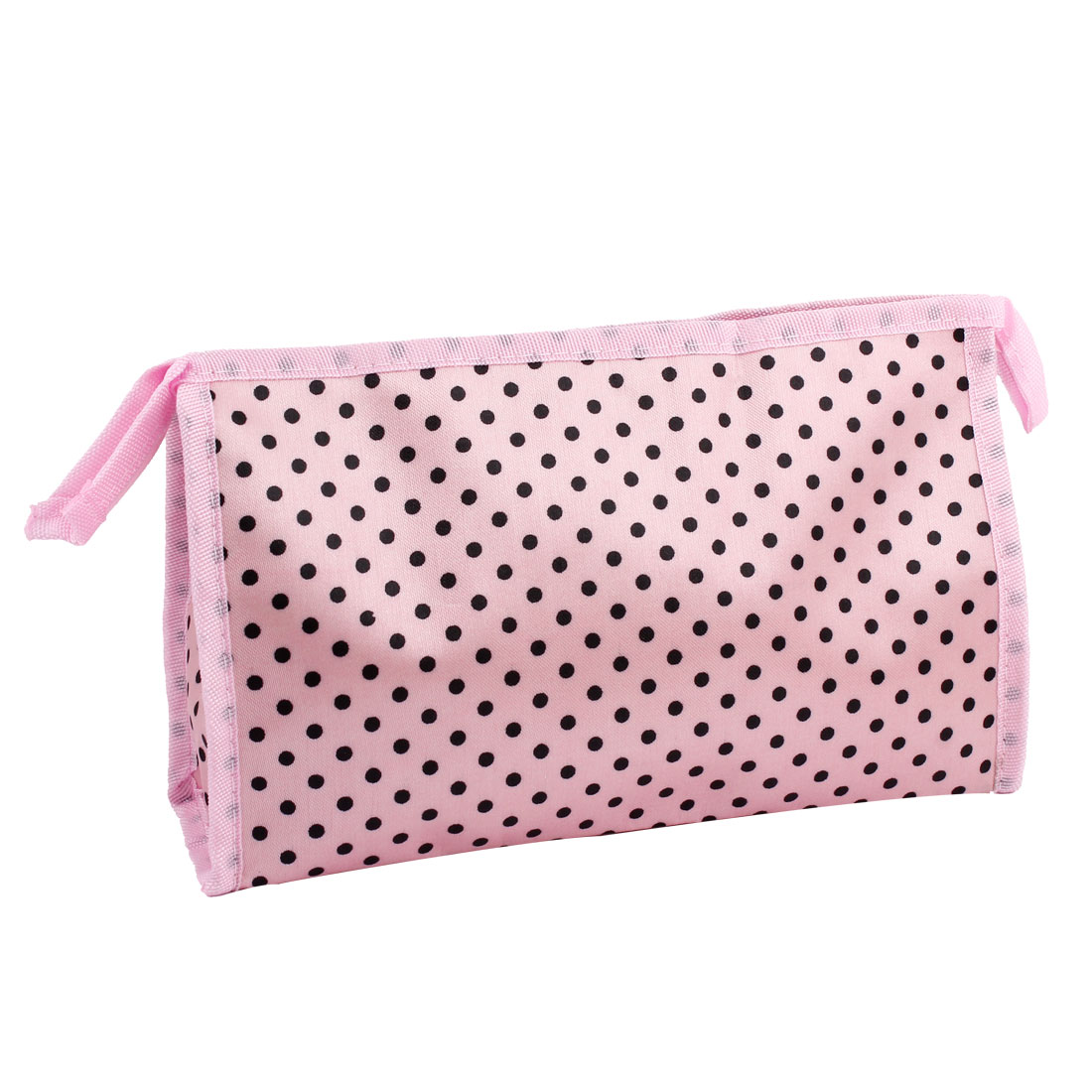 Pink Dotted Print Zip Closure Rectangular Makeup Pouch Cosmetic Bag for Women