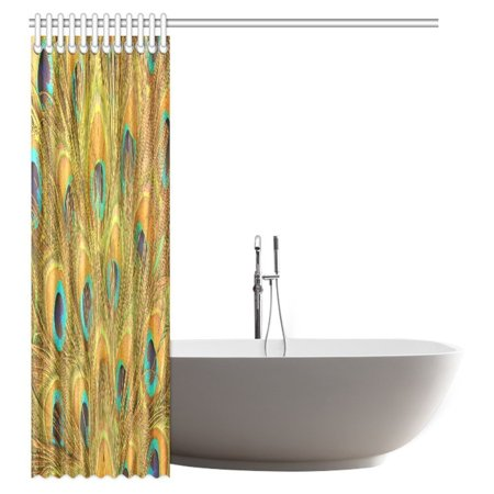 POP Peacock Shower Curtain, Macro Peacock Tail Feather Like Third Eyes Vitality New Life Path Awakening Decorative Bathroom Shower Curtain Set 60x72 inch - image 1 of 2