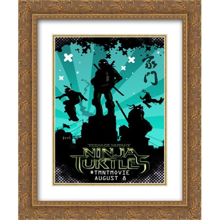 Teenage Mutant Ninja Turtles 20x24 Double Matted Gold Ornate Framed Movie Poster Art Print - The Gold Ninja