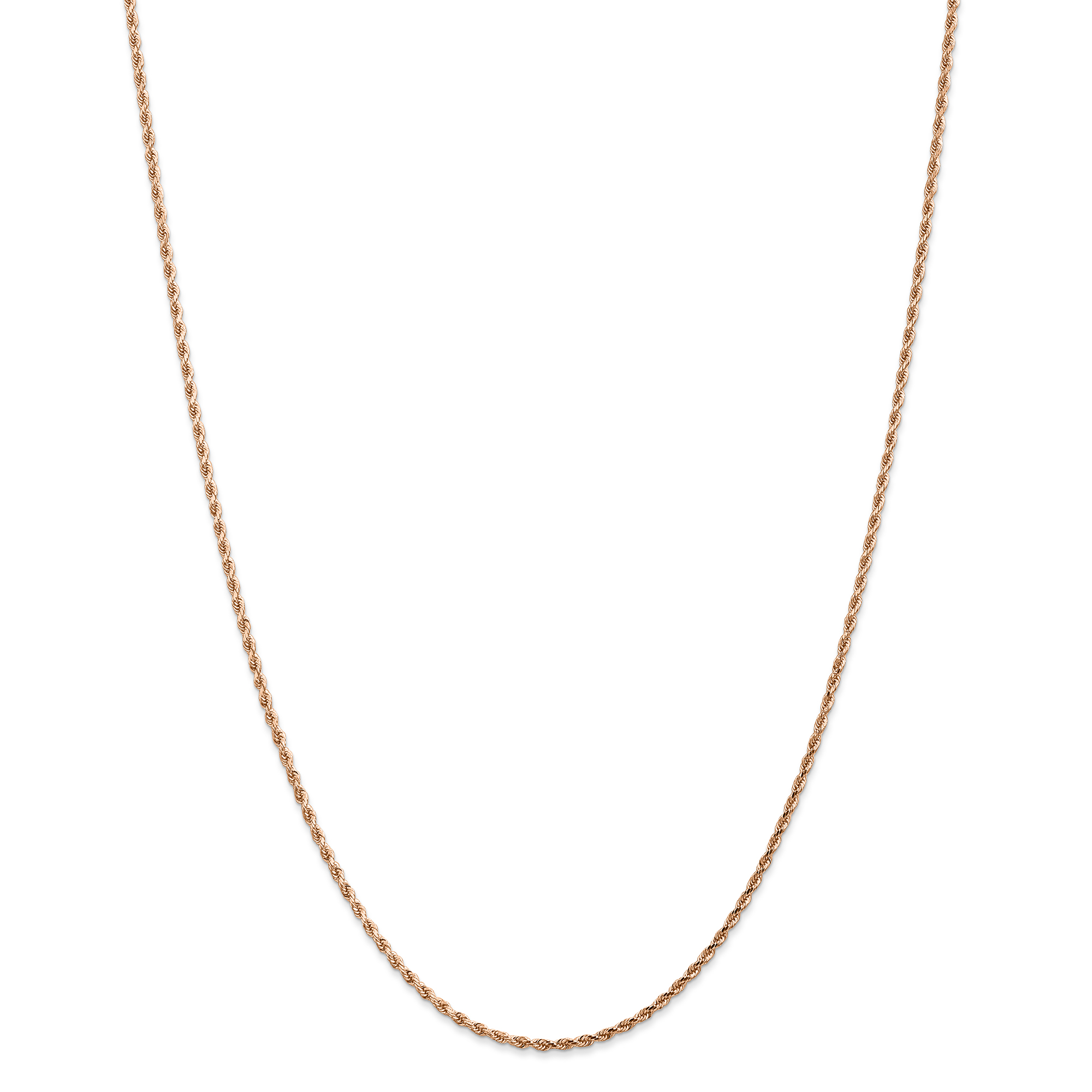 Roy Rose Jewelry Leslies 14K Rose Gold 1.75mm Diamond Cut Rope Chain Necklace ~ Length 24'' inches by Roy Rose Jewelry