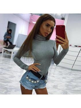 Autumn Winter Women High Collor Long Sleeve Solid Bodysuit Jumpsuit