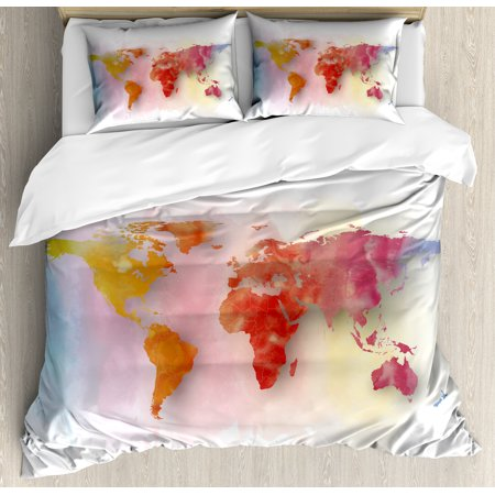 World Map Duvet Cover Set, Watercolor Map of the World with Vibrant Color  Scheme Abstract Division of Earth, Decorative Bedding Set with Pillow  Shams, ...