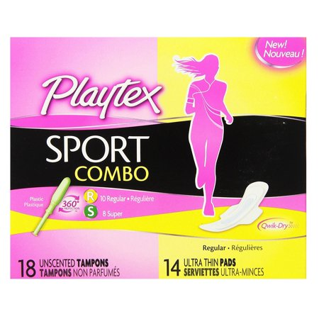Playtex Sport Combo: 10 Unscented Regular Tampons, 8 Unscented Super Tampons and 14 Ultra Thin Pads + Yes to Tomatoes Moisturizing Single Use