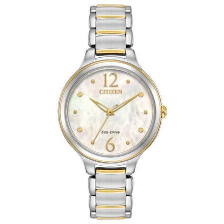 Pearl Tone Dial - L Mother Of Pearl Dial Ladies Two Tone Watch EM0554-58N