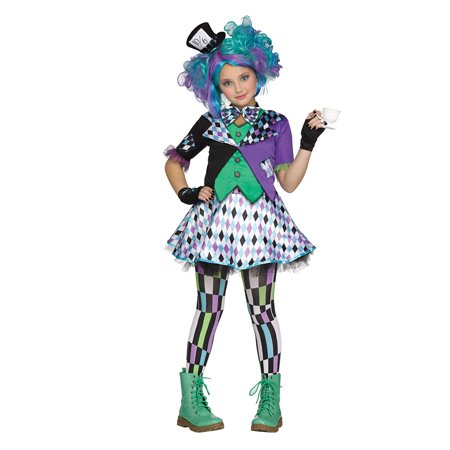 Girls Mad Hatter Purple Teen Halloween Costume