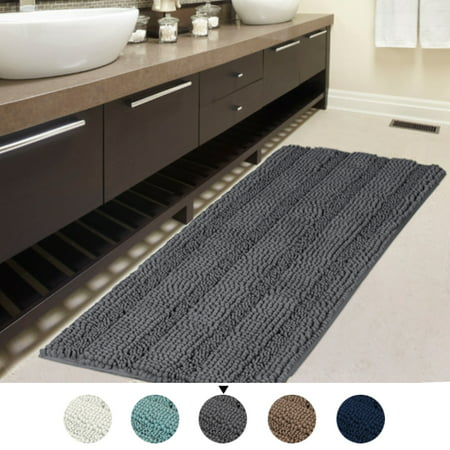 47x17 Inch Large Luxury Grey Striped Bath Mat Soft Shaggy Bathroom