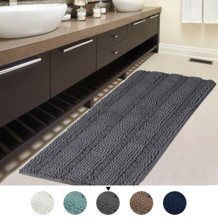 47x17 Inch Large Luxury Grey Striped Bath Mat Soft Shaggy ...