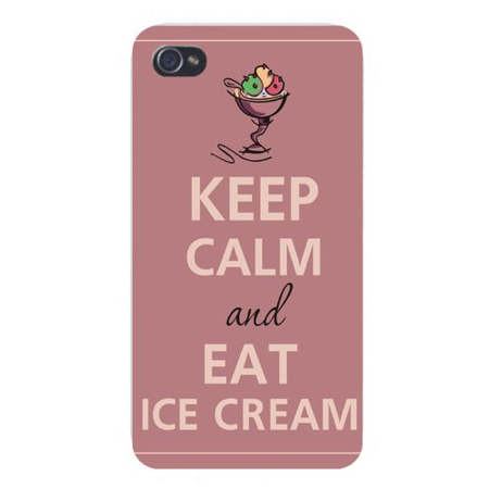Apple Iphone Custom Case 4 4s White Plastic Snap on - Keep Calm and Eat Ice Cream - Halloween Ice Cream Sundae Bar