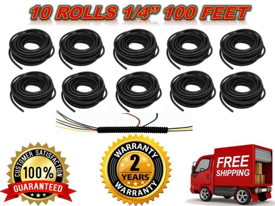 "Wire Loom Black 10/' Feet 1//4/"" Split Tubing Hose Cover Auto Home Marine"