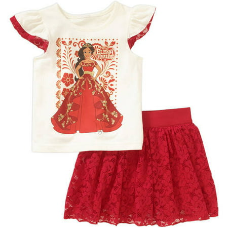 Elena of Avalor Toddler Girl Flutter Sleeve Tee and Skirt Outfit Set