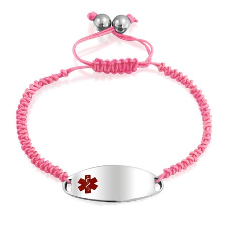 Pink Braided Cord Medical Identification Doctors Engravable Medical Alert ID Bracelet Women Stainless -