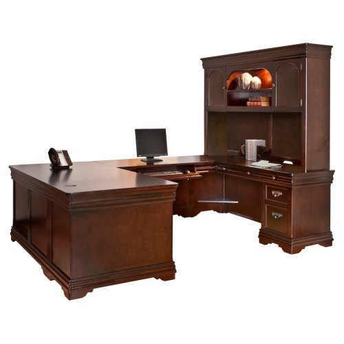 Martin Home Furnishings Beaumont U-Shaped Desk with Optional Hutch