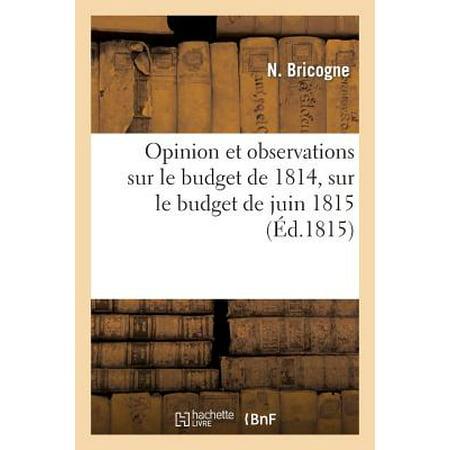 Opinion Et Observations Sur Le Budget de 1814, Sur Le Budget de Juin 1815 Et Sur Les Diff�rents (Budget Rent)