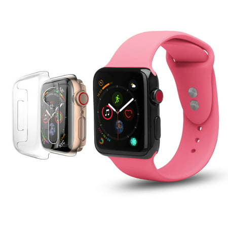- Apple Watch Soft Silicone Bands 42mm with Full Body Clear Hard Case Screen Protector Wristband for iWatch Apple Watch Series 1/2/3/Nike+ - Pink