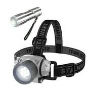 Stalwart 12-LED Headlamp Plus 6-LED Flashlight Super Set