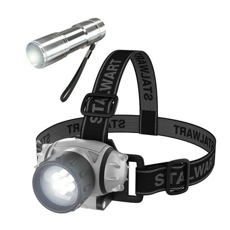 Stalwart 12 Led Headlamp Plus 6 Led Flashlight Super Set Walmart Com