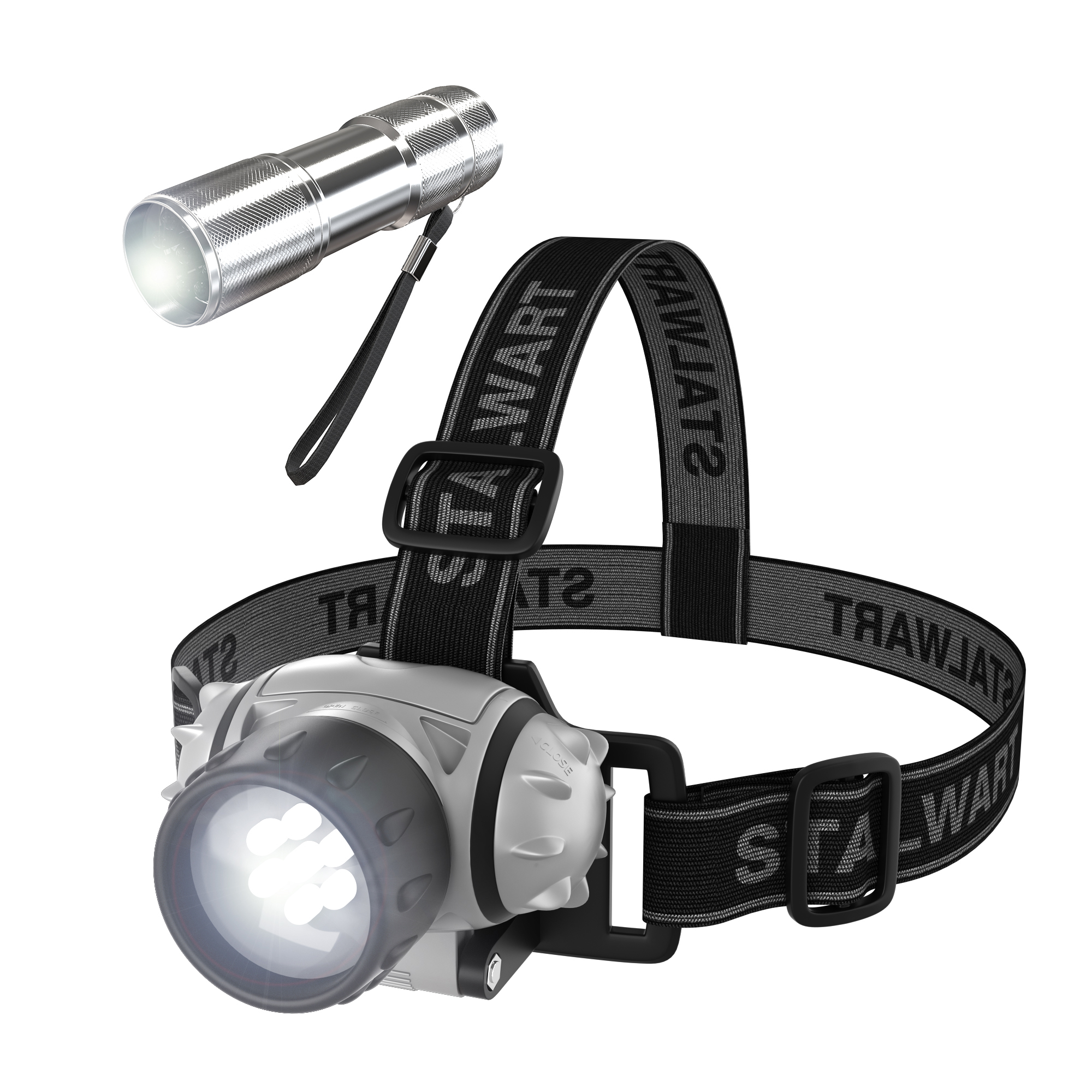 Stalwart 12-LED Headlamp Plus 6-LED Flashlight Super Set