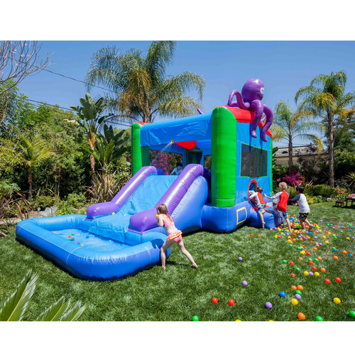 JumpOrange DuraLite Octopus Bounce House and Water Slide with 100pct PVC