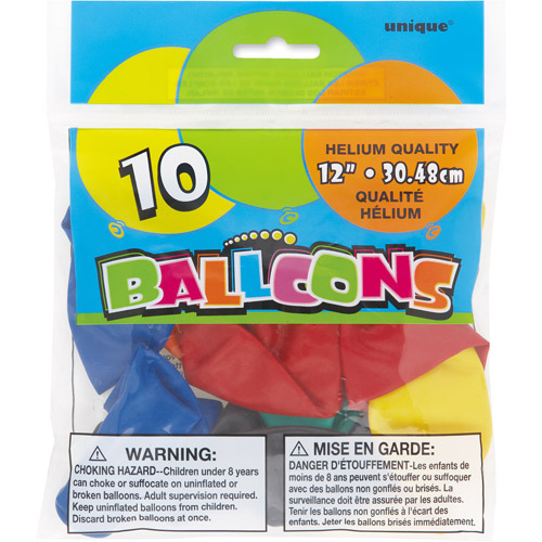 12'' Latex Assorted Color Balloons, 10ct
