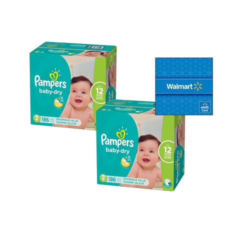 [Buy 2, Get $15 Gift Card] Pampers Baby-Dry Diapers Size 2, 186 Count (Total 372 -