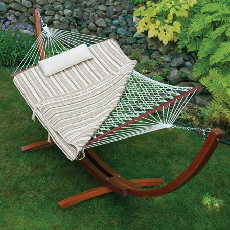 Island Bay 11 Ft  Cotton Rope Hammock With Wood Stand  44  Pillow And Pad