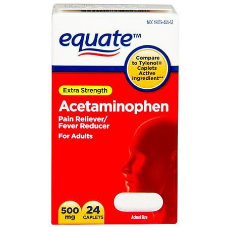 equate Extra Strength Acetaminophen Analgésique / Fièvre Réducteur Caplets, 500mg, 24 count