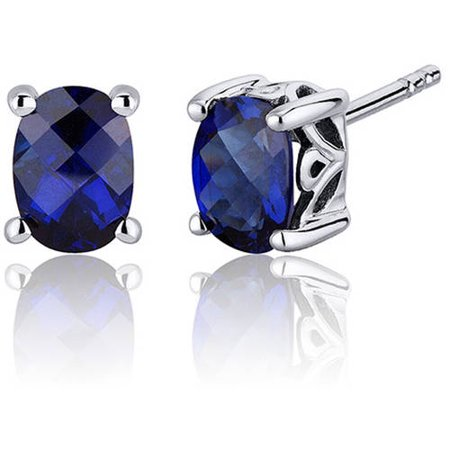 2.00 Carat T.G.W. Oval-Cut Sapphire Rhodium over Sterling Silver Stud Earrings