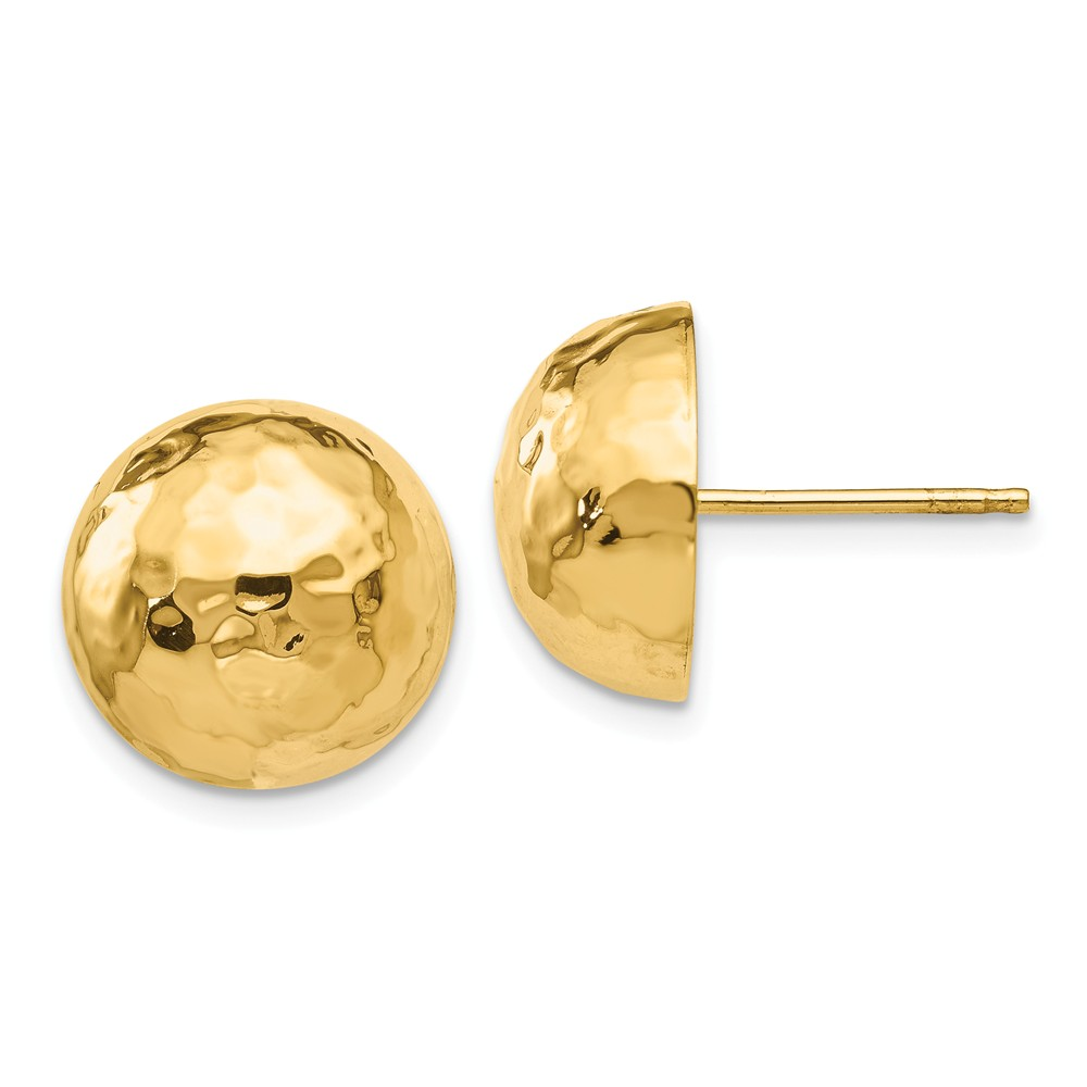 14k Yellow Gold 12.00mm Hammered Half Ball Post Stud Earrings (0.5IN x 0.5IN )