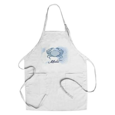 Portland  Maine   Crab   Blue   Coastal Icon   Lantern Press Artwork  Cotton Polyester Chefs Apron
