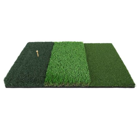 Ram Golf Tri-Surface Practice Hitting Mat - Fairway, Rough and Tee Box- 16