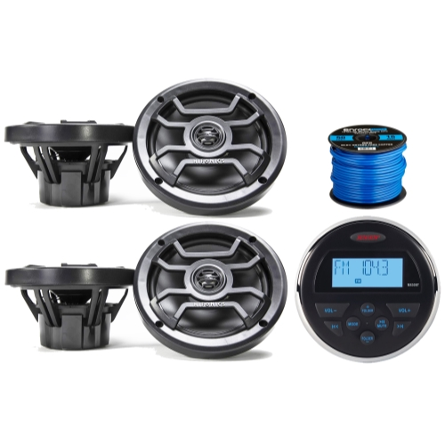 "Jensen MS-30BTR Mechless Compact Waterproof Stereo w/ Bluetooth & USB Inputs, 4 x Hifonics 6.5"" Marine 2-Way Speakers w/ Grills (Black), Enrock Marine-Grade 50 Foot 16-Gauge Speaker Wire"