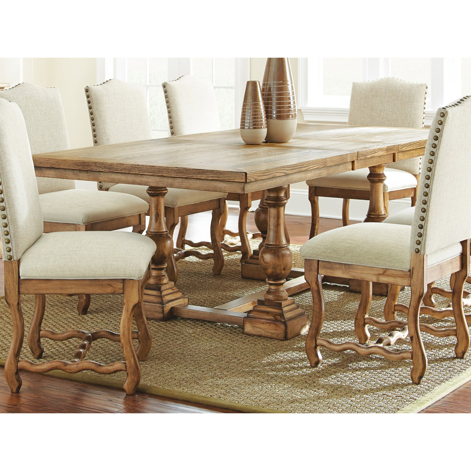 Steve Silver Plymouth Dining Table - Oiled Oak - Walmart.com