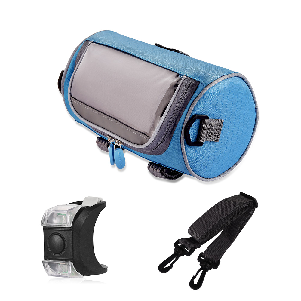 RUNACC Waterproof Bike Front Handlebar Bag Portable Bicycle Bags Cycling Bag for Riding, Transplant Screen, Adjustable Shoulder Strap, Large Capacity
