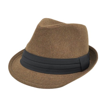 Unisex Classic Solid Color Felt Fedora Hat with Black Band (White Felt Fedora)