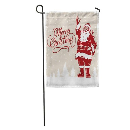 JSDART Vintage Father Christmas Santa Claus Merry Script Calligraphic Fully Adjustable Garden Flag Decorative Flag House Banner 28x40 inch - image 2 of 2