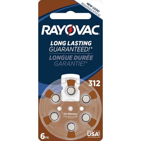 Rayovac Size 312 Hearing Aid Battery Mercury Free Batteries, 6-Pack, L312ZA-6ZM4B
