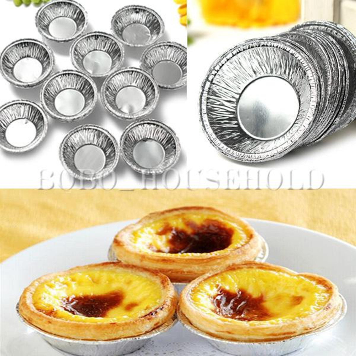Click here to buy 125 Pcs Disposable Aluminum Foil Cups Baking Bake Muffin Cupcake Tin Mold Round EggTart Tins Mold Mould.