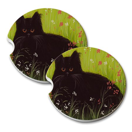 KuzmarK Sandstone Car Drink Coaster (set of 2) - Black Persian Cat Art by Denise Every ()
