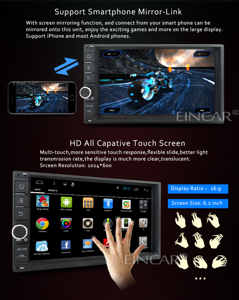 EinCar Android 4 4 Kitkat In Dash Head Unit Touch Screen with GPS  Navigation Car Stereo Quad Core Bluetooth Autoradio 2 Din Quad Core A9  1 6GHz 16GB